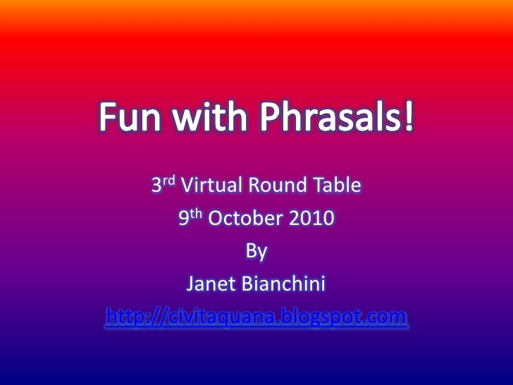 3rd Virtual Round Table          9th October 2010                 By           Janet Bianchini http://civitaquana.blogspot...