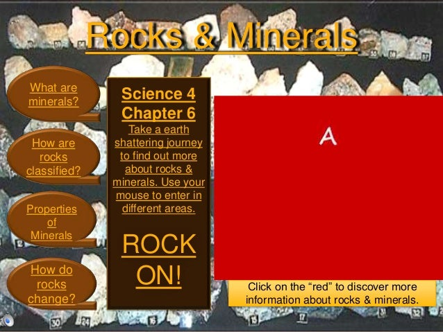 Rocks & Minerals What are minerals? How are rocks classified? Properties of Minerals How do rocks change? Science 4 Chapte...