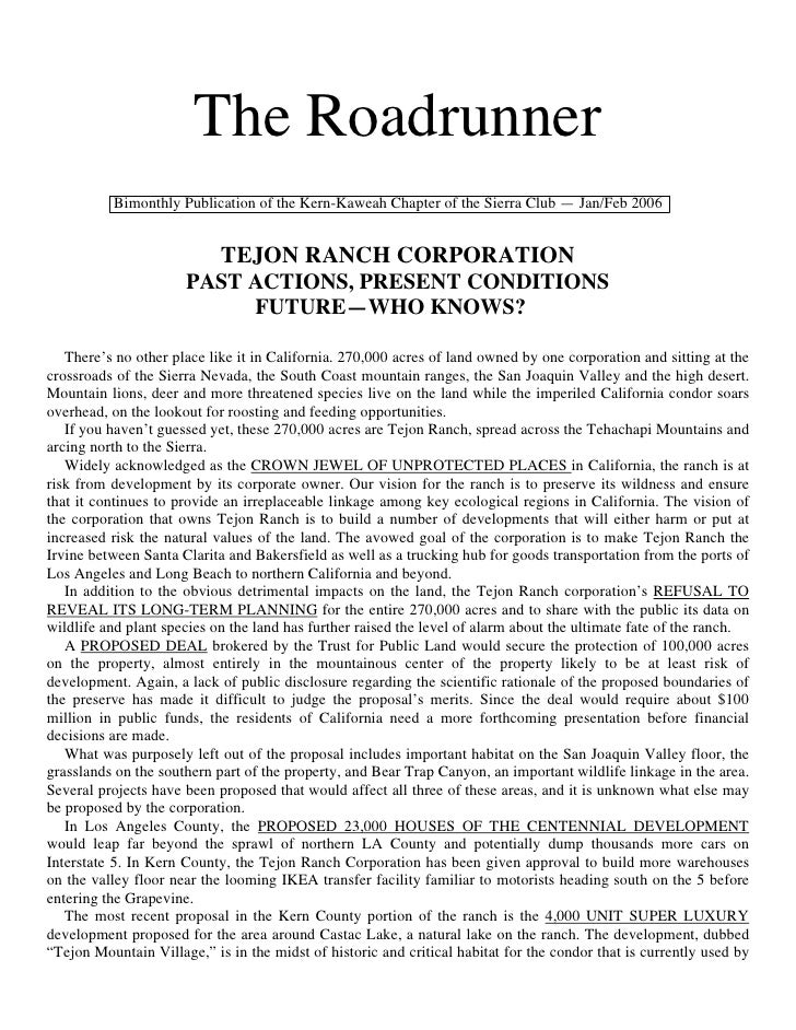 The Roadrunner          Bimonthly Publication of the Kern-Kaweah Chapter of the Sierra Club — Jan/Feb 2006                ...