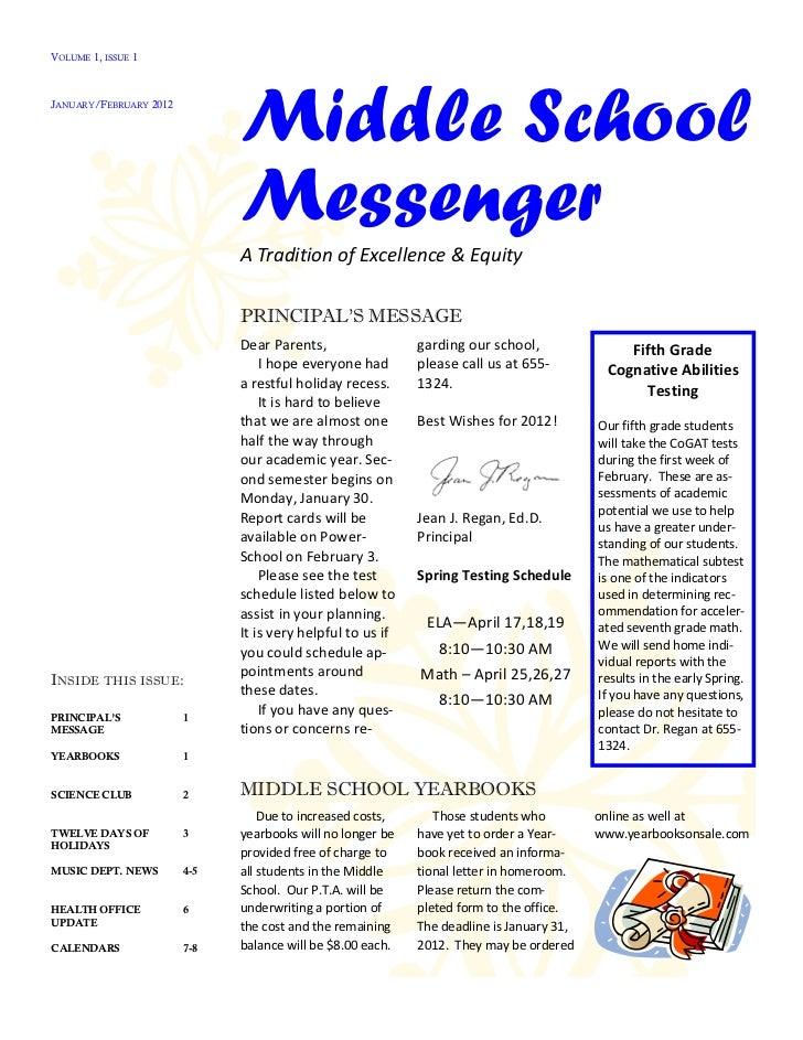 Cazenovia Middle School Messenger (Jan/Feb 2012)