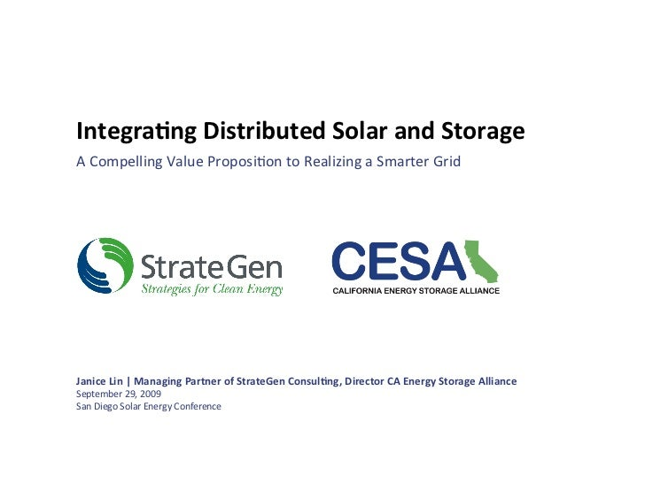 Integrated Distributed Solar and Storage