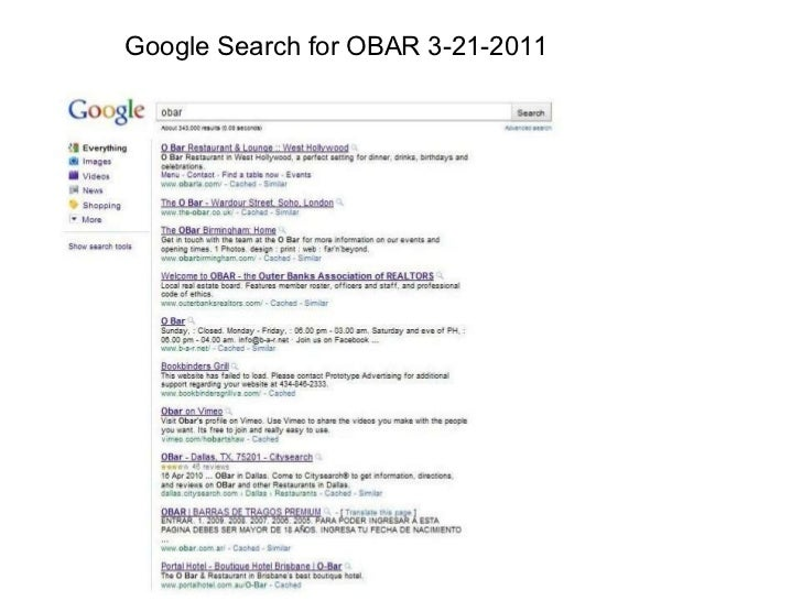 Google Search for OBAR 3-21-2011