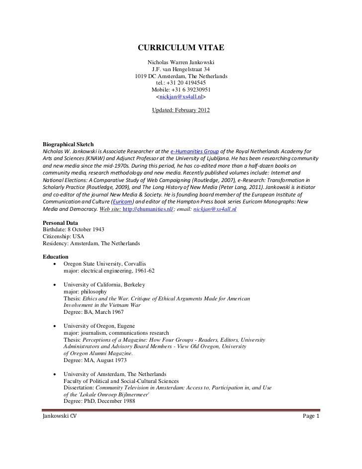 Jankowski, curriculum vitae, 29 february 2012