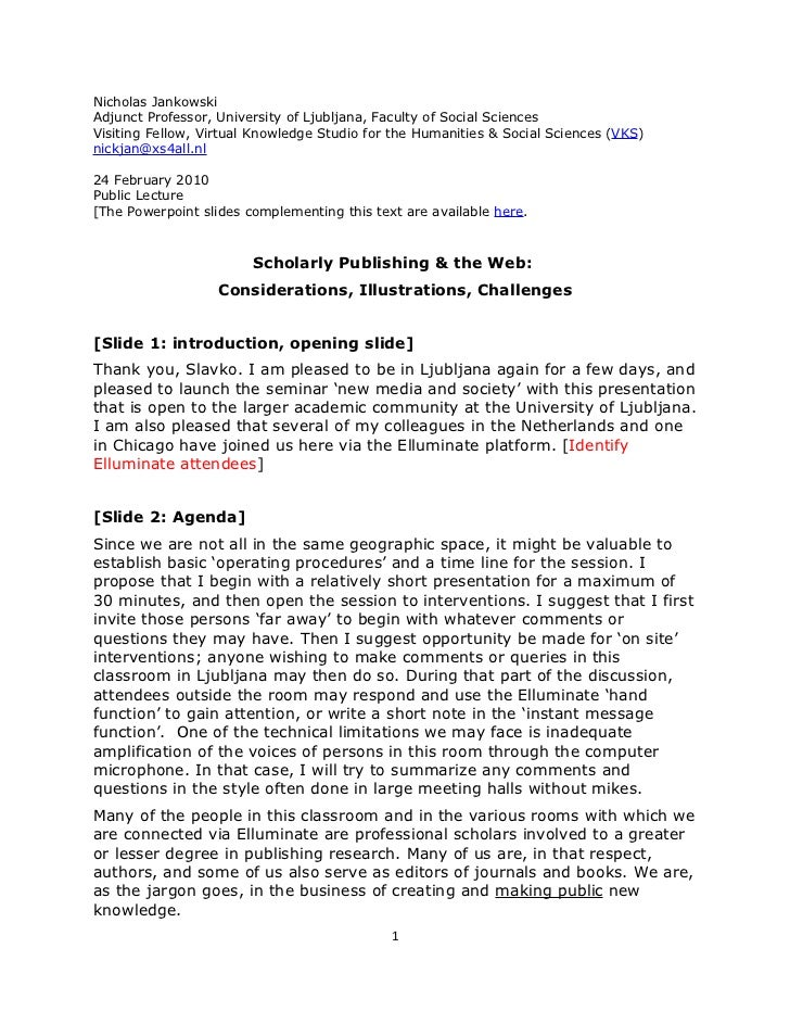 Jankowski, Presentation, Scholarly Publishing And The Web, Final Version, Single Spaced, 24feb2010