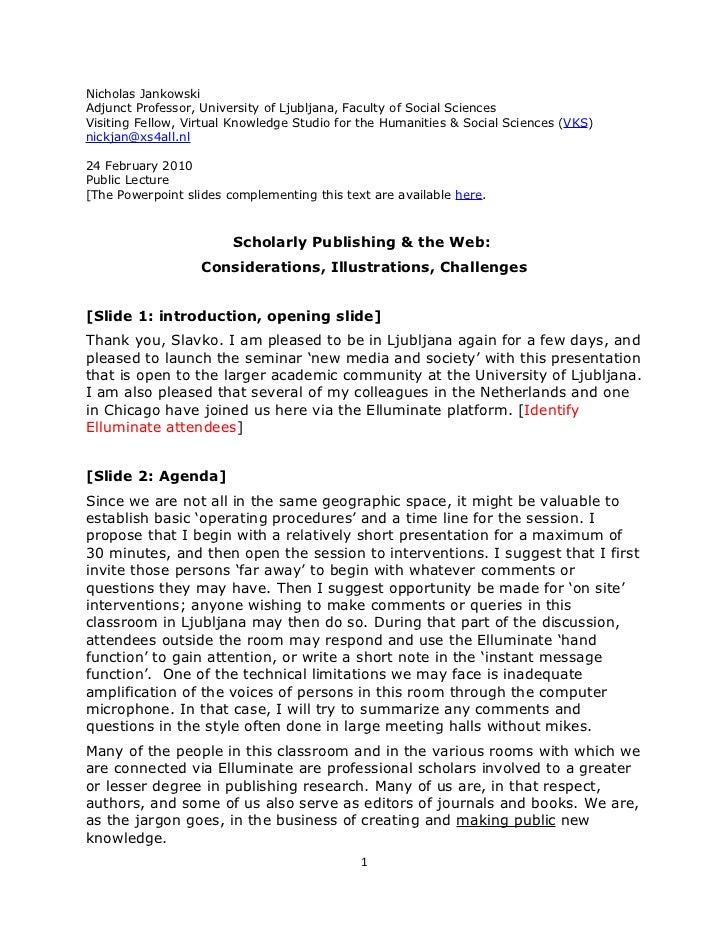 Jankowski, Presentation, Scholarly Publishing And The Web, Final Version, Single Spaced, 24feb2010