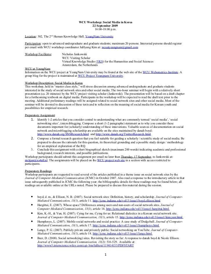 Jankowsk,Iwcu Workshop Socia Lmedia, Revised, 29aug2009