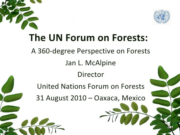 A 360-degree Perspective on Forests Jan L. McAlpine Director United Nations Forum on Forests 31 August 2010 – Oaxaca, Mexi...