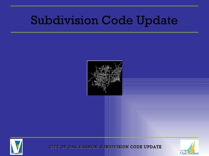Subdivision Code Update