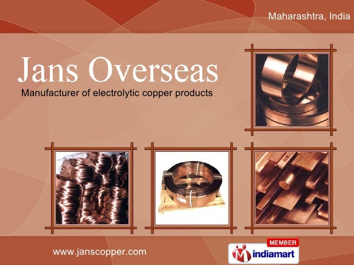 Maharashtra, India Manufacturer of electrolytic copper products