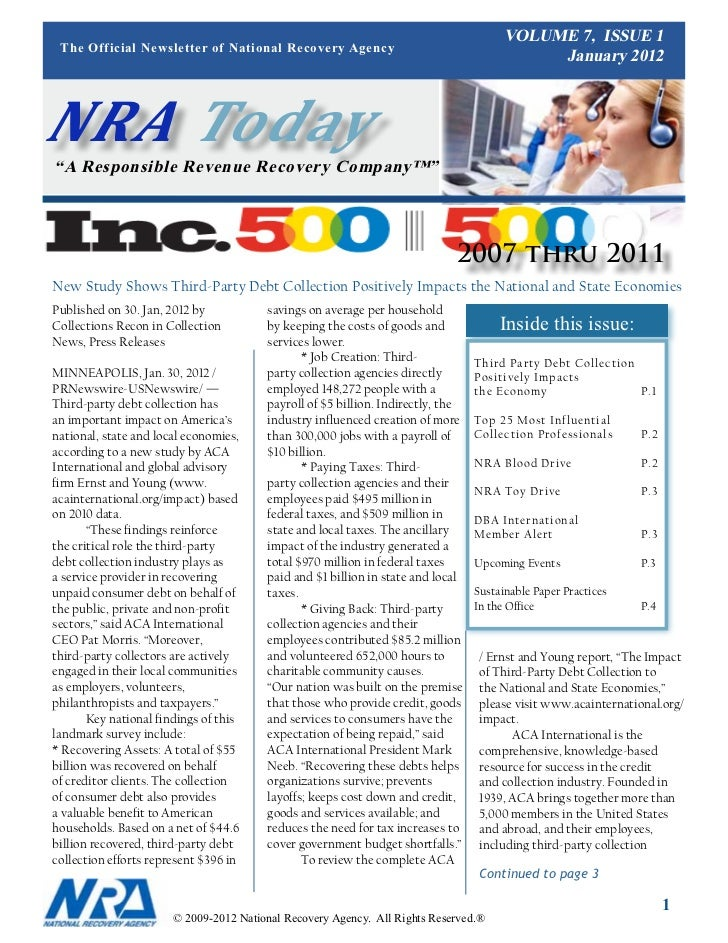 VOLUME 7, ISSUE 1 The Official Newsletter of National Recovery Agency                                                     ...