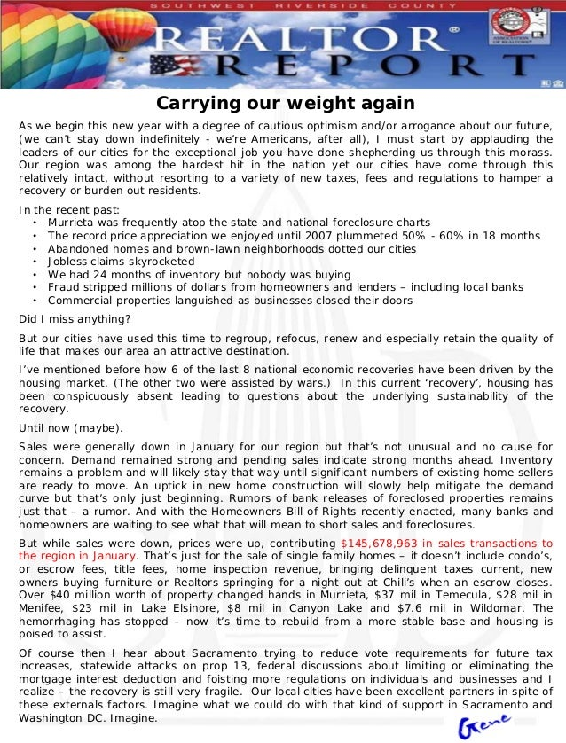 Carrying our weight againAs we begin this new year with a degree of cautious optimism and/or arrogance about our future,(w...