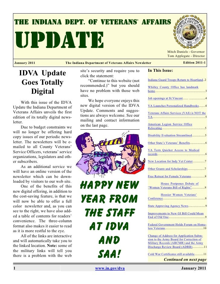 January 2011 IDVA Newsletter