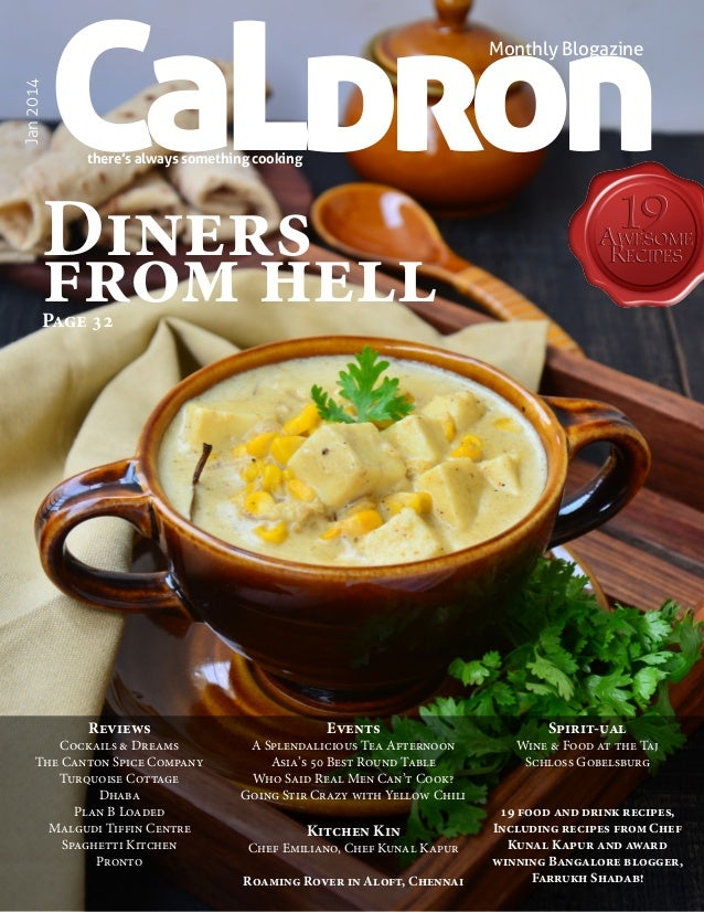 CaLdron  Jan 2014  Monthly Blogazine  there's always something cooking  Diners from hell Page 32  Reviews  Cockails & Drea...