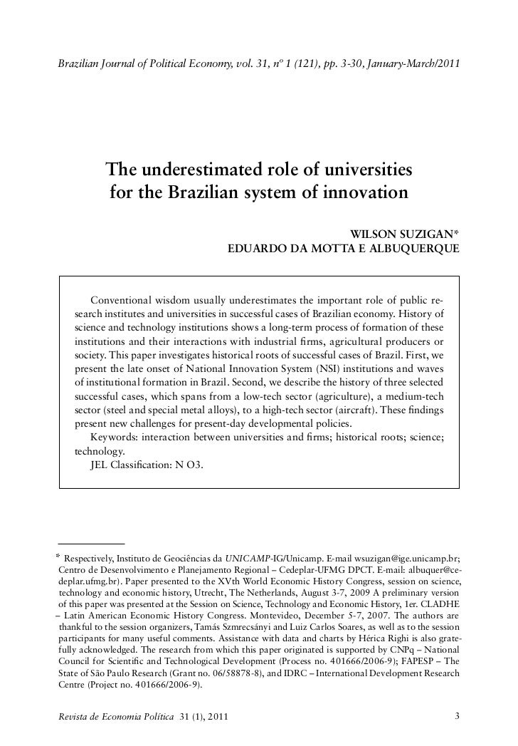 Brazilian Journal of Political Economy, vol. 31, nº 1 (121), pp. 3-30, January-March/2011            The underestimated ro...