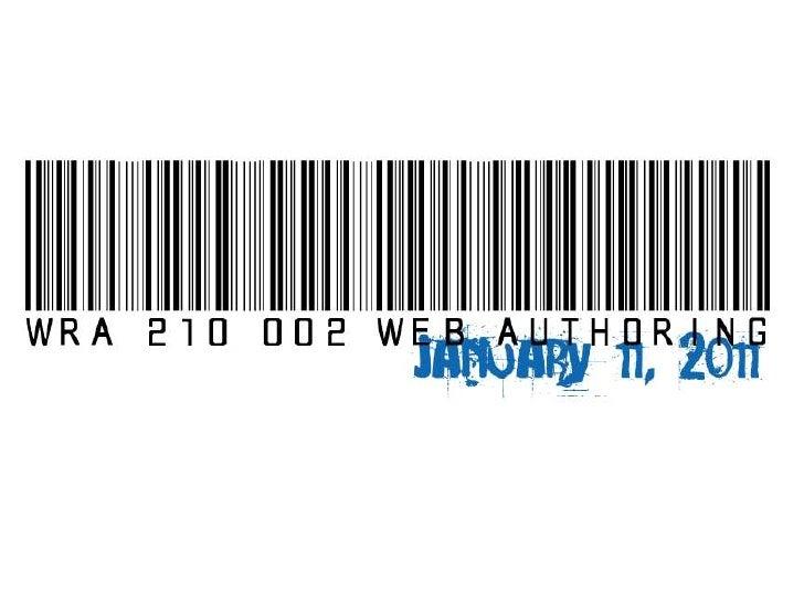 WRA 210 January 11, 2011