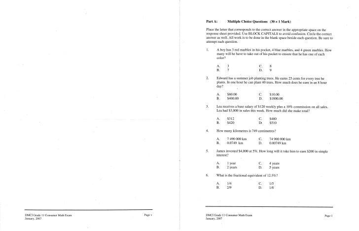 January 2007 exam a