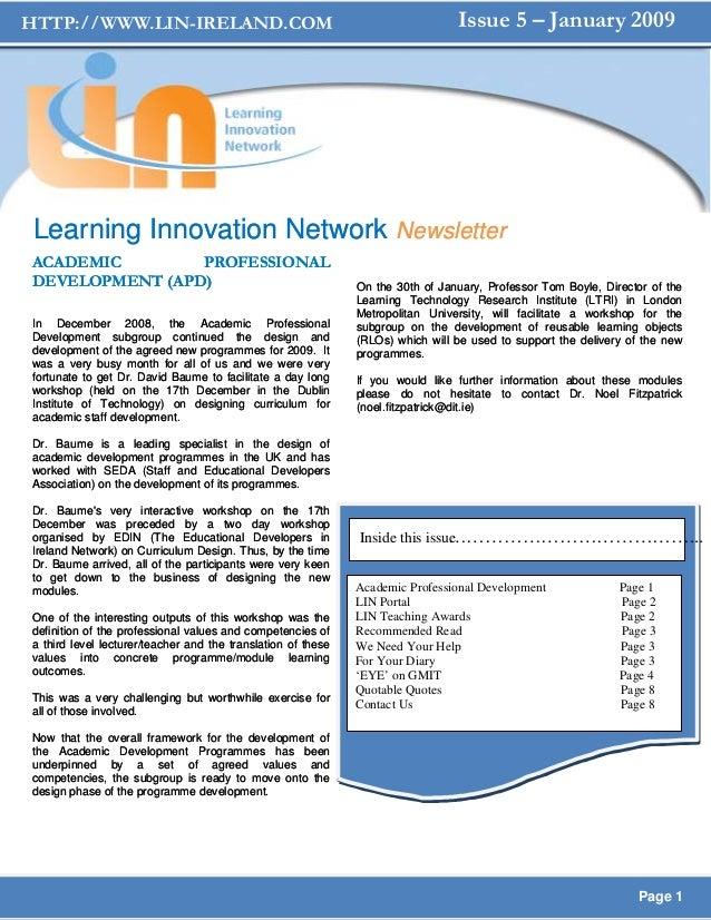 HTTP://WWW.LIN-IRELAND.COM                                                      Issue 5 – January 2009Learning Innovation ...