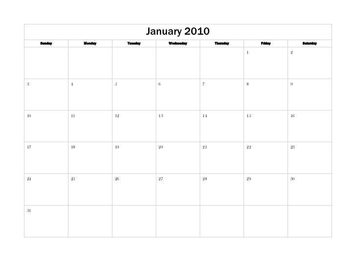 January 2010SundayMondayTuesdayWednesdayThursdayFridaySaturday12345678910111213141516171819202122232425262728293031<br />F...
