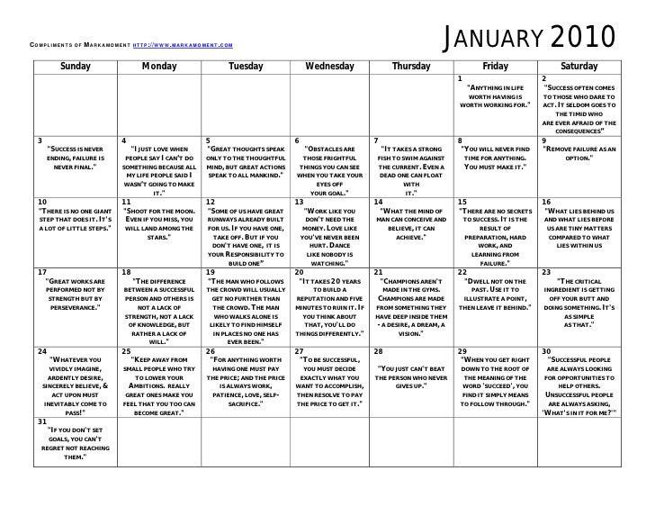 Monthly Motivational Calendar January 2010