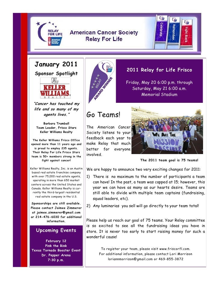 January 2011 Relay For Life Frisco Newsletter