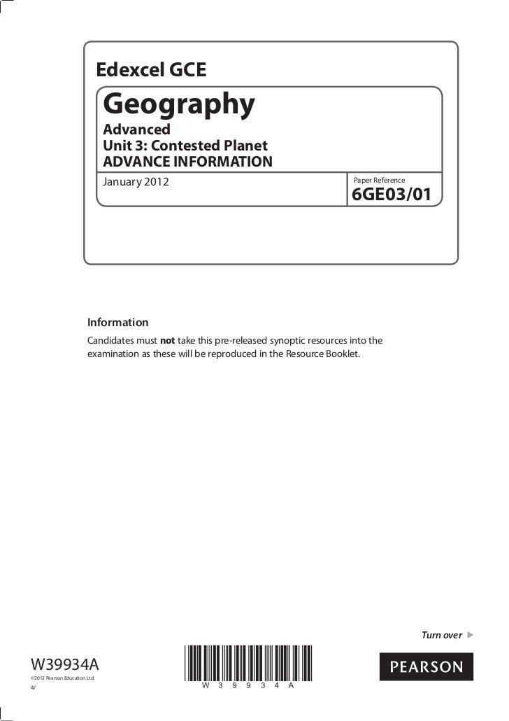 Edexcel GCE                               Geography                               Advanced                               U...