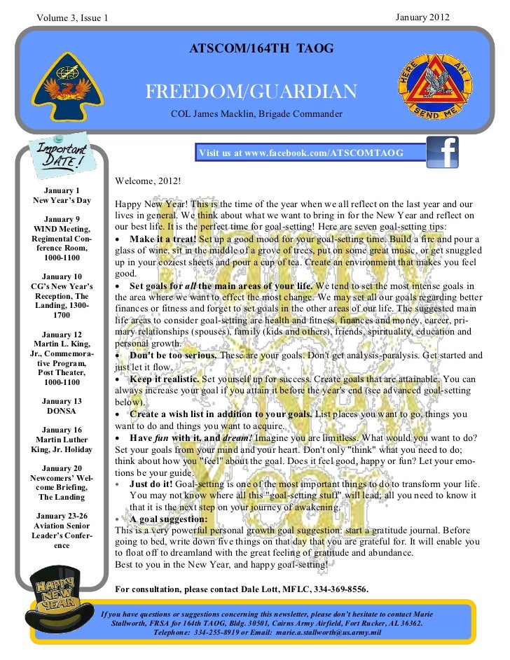 January 2012 Newsletter