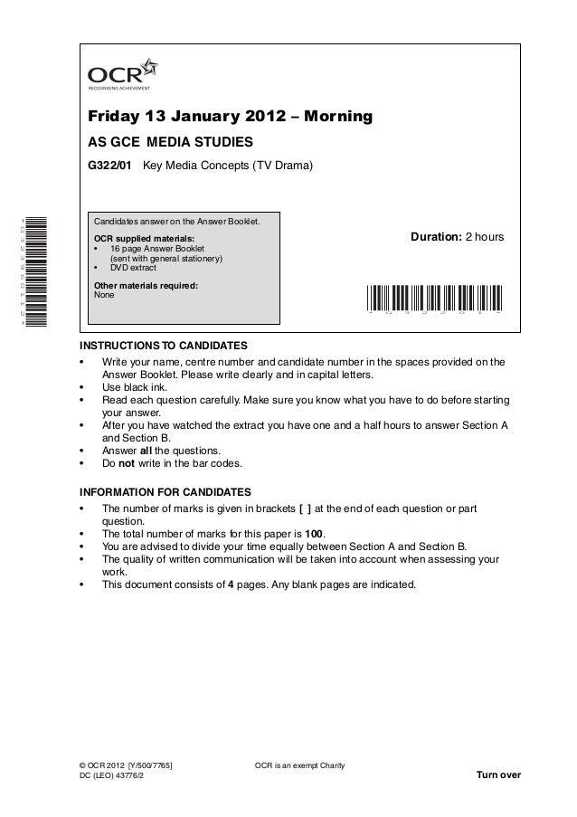 Friday 13 January 2012 – Morning                              AS GCE MEDIA STUDIES                              G322/01 Ke...