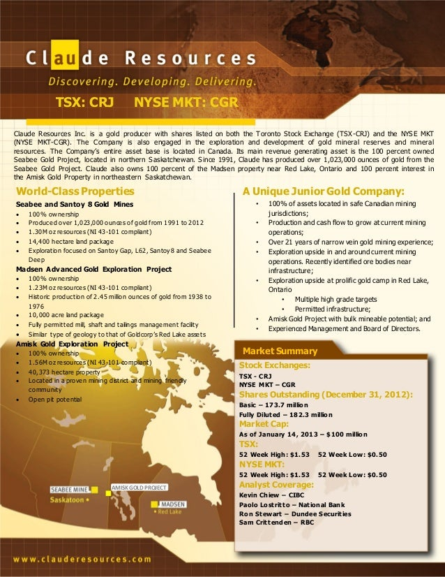 Claude Resources Inc. Fact Sheet
