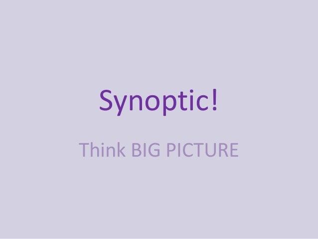 Synoptic!Think BIG PICTURE