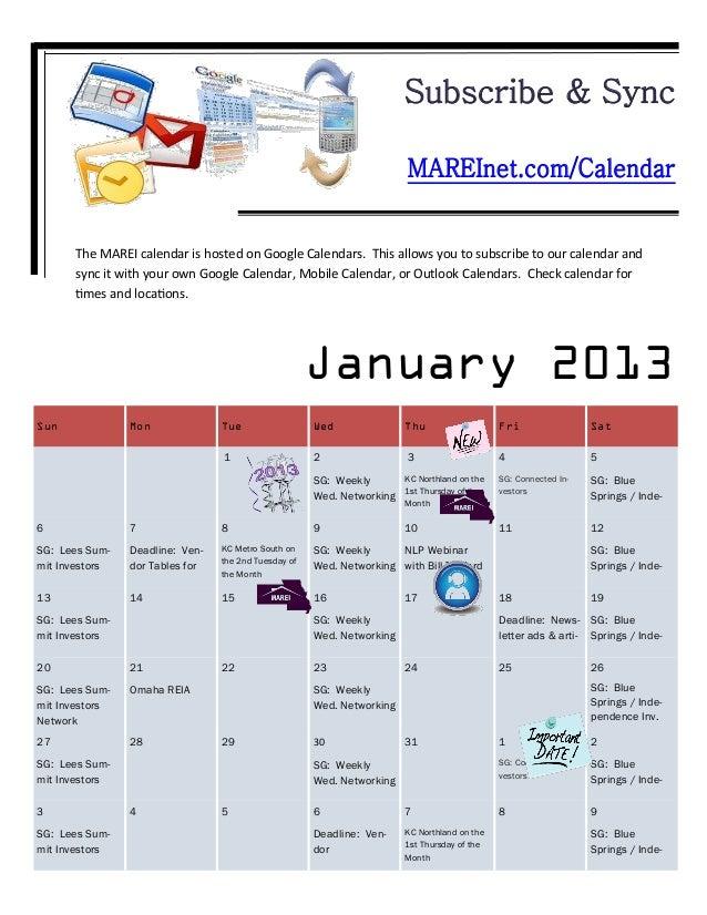 Subscribe & Sync                                                                         MAREInet.com/Calendar      The MA...