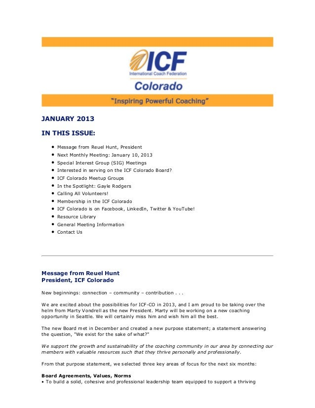 January 2013 ICF Colorado Newsletter