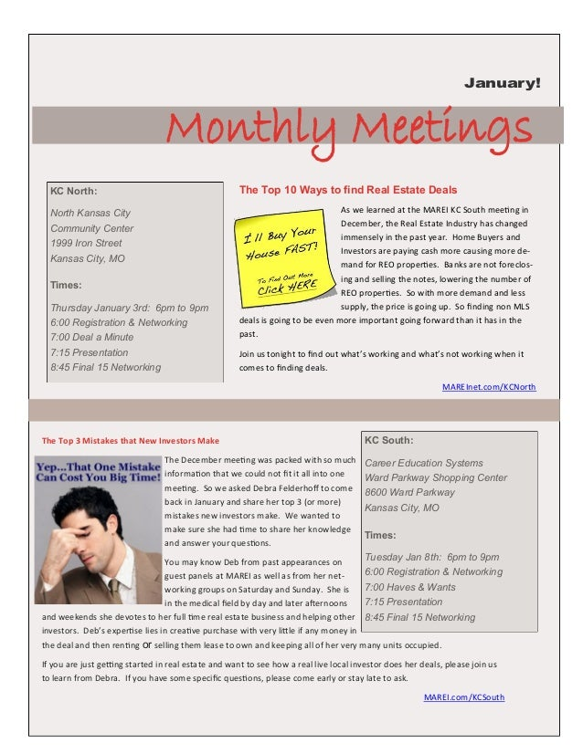 January!                                 Monthly Meetings  KC North:                                          The Top 10 W...