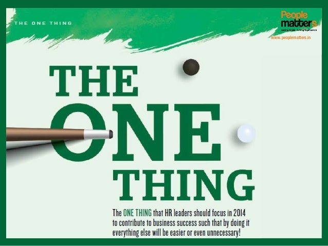 January 2014 Cover Story_The One Thing