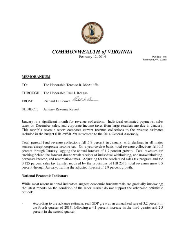 January 2014 revenue letter, State of Virginia