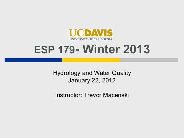 January 22  ESP 179 Hydro