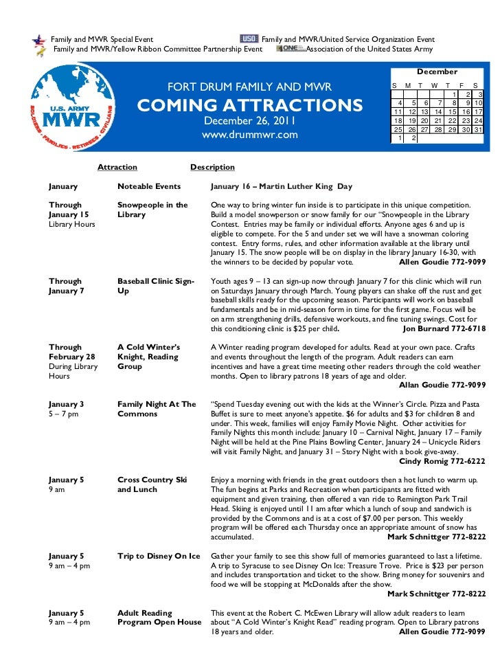 January 2 2012, 2011 FMWR Coming Attractions