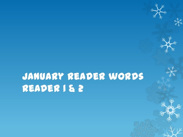 January reader words