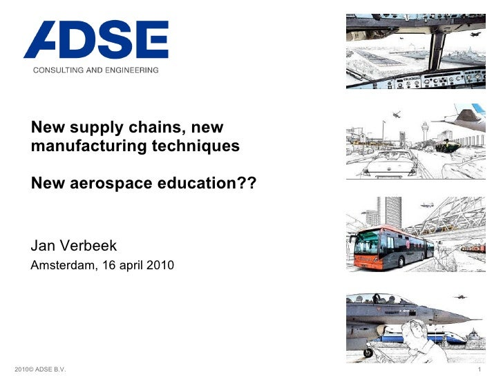 New supply chains, new manufacturing techniques  New aerospace education?? Jan Verbeek Amsterdam, 16 april 2010