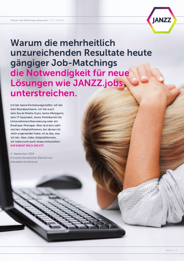 Topic: Job Matching Investigated // EN // 09 2014  PSeagite 1 // 4  Thema: Job Matchings untersucht // D Warum die mehrhei...