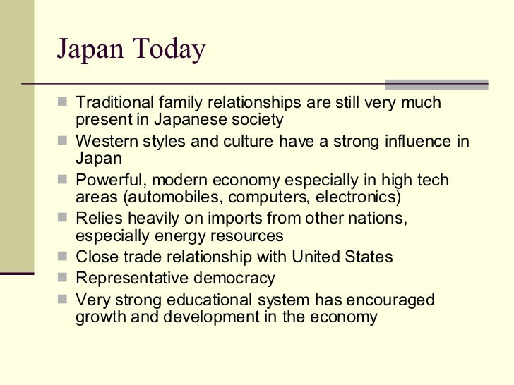 the typical influence of japanese education We are not concerned here with how typical this pattern was or the major change in the japanese family of the late 1950s and well in the education.