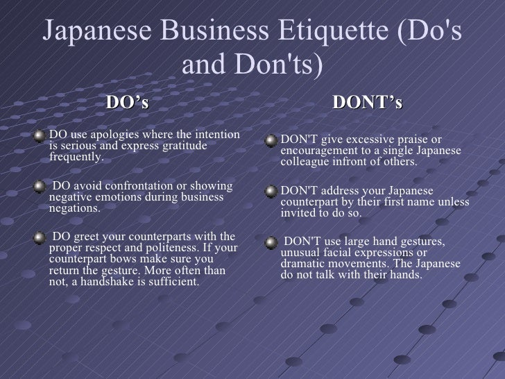 japanese etiqutte in workplace or business Japanese business etiquette guide tanaka-san or tex what to call japanese is it better to call japanese colleagues by their last names, their first names, or by english nicknames.