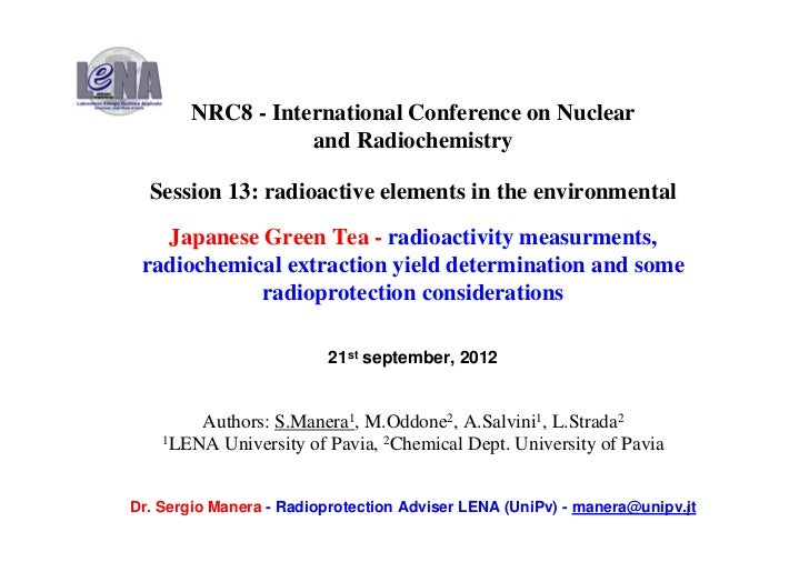 NRC8 - International Conference on Nuclear                  and Radiochemistry  Session 13: radioactive elements in the en...