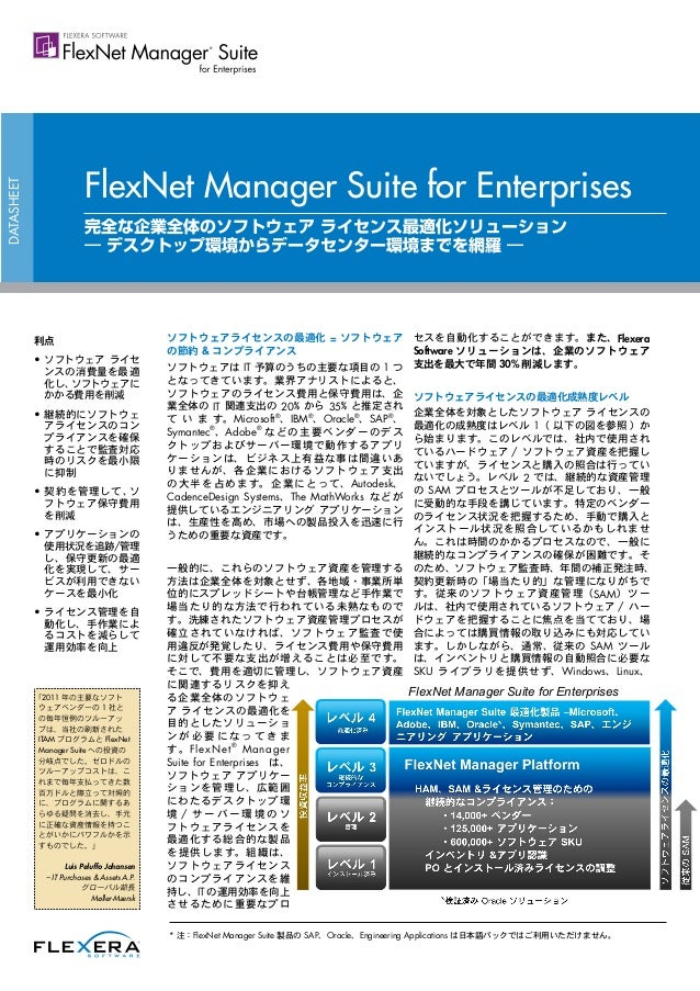FlexNet Manager Suite for Enterprises Datasheet