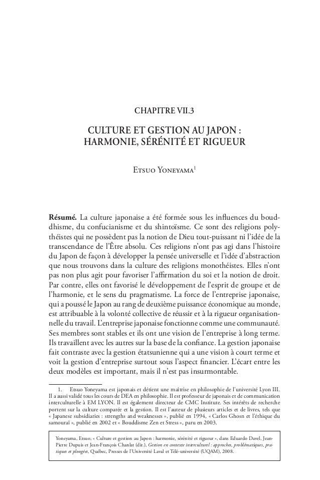 Chapitre VII.3                  Culture et gestion au Japon:                 harmonie, sérénité et rigueur               ...