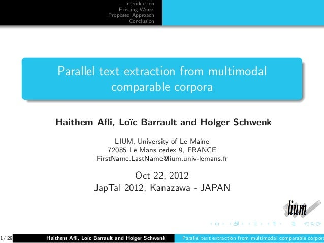 Parallel text extraction from multimodal comparable corpora
