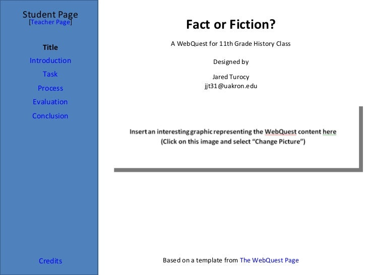 Fact or Fiction? Student Page Title Introduction Task Process Evaluation Conclusion Credits [ Teacher Page ] A WebQuest fo...