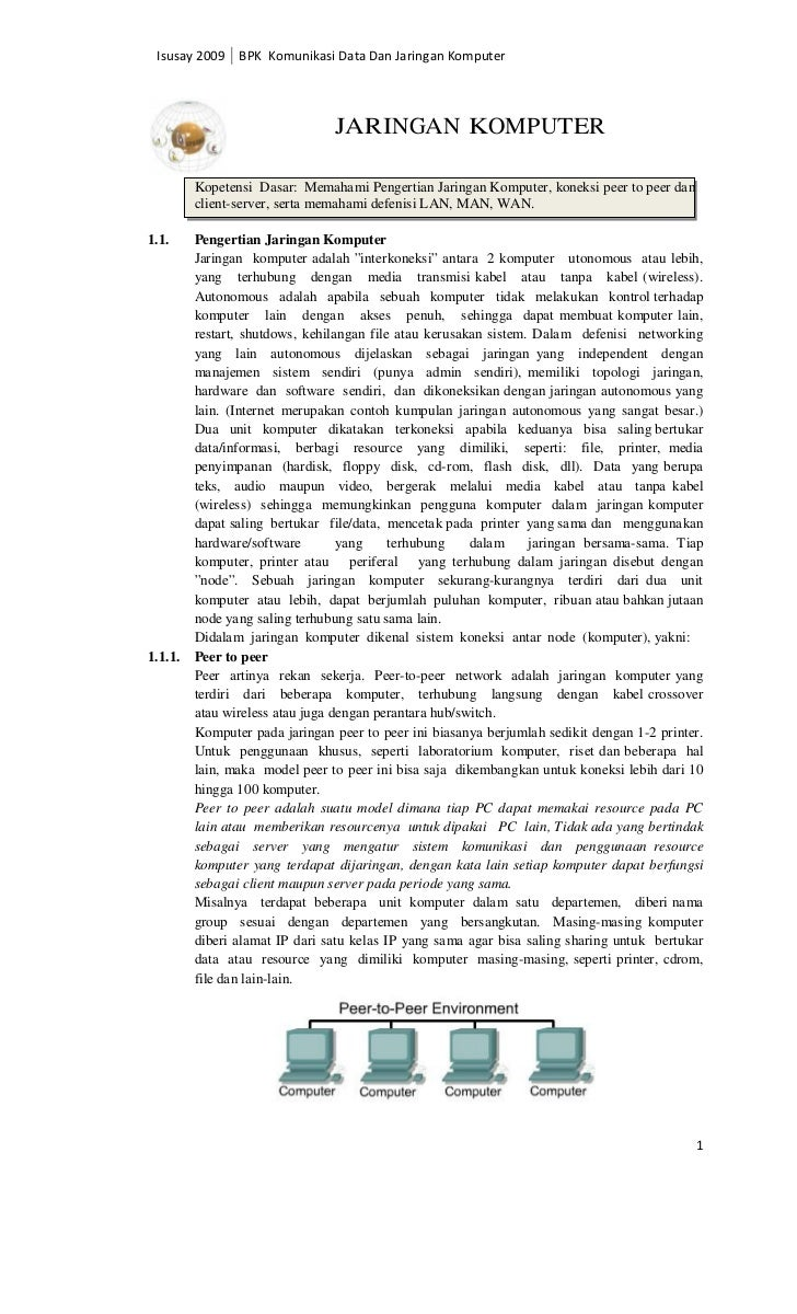 Isusay 2009 BPK Komunikasi Data Dan Jaringan Komputer                                JARINGAN KOMPUTER         Kopetensi D...