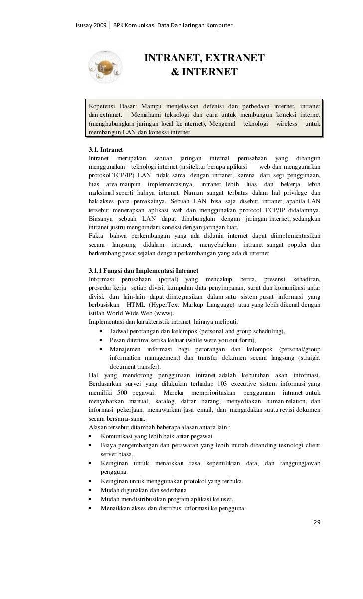 Isusay 2009 BPK Komunikasi Data Dan Jaringan Komputer                       INTRANET, EXTRANET                           &...