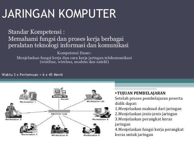 JARINGAN KOMPUTER   Standar Kompetensi :   Memahami fungsi dan proses kerja berbagai   peralatan teknologi informasi dan k...