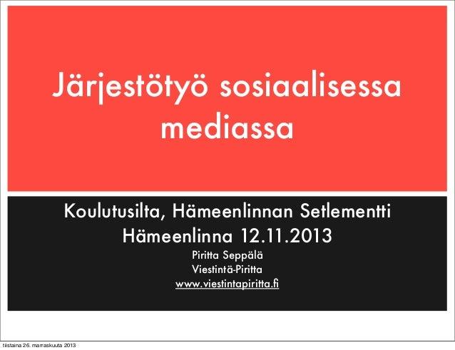Järjestötyö ja sosiaalinen media